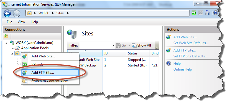 FTP site on Windows 7