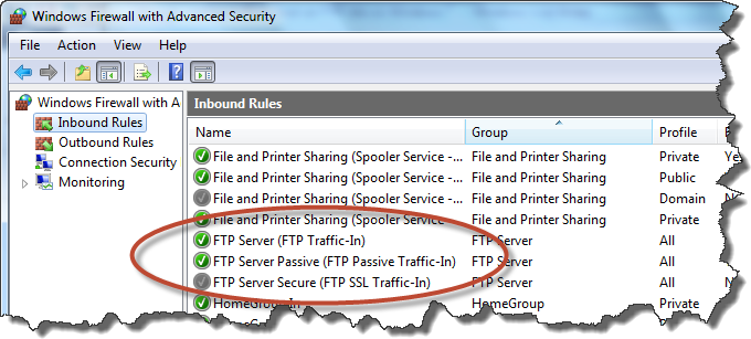 FTP site on Windows 7 - firewall