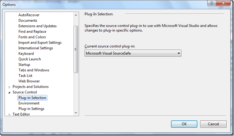 Visual Studio 2012 supports Visual SourceSafe
