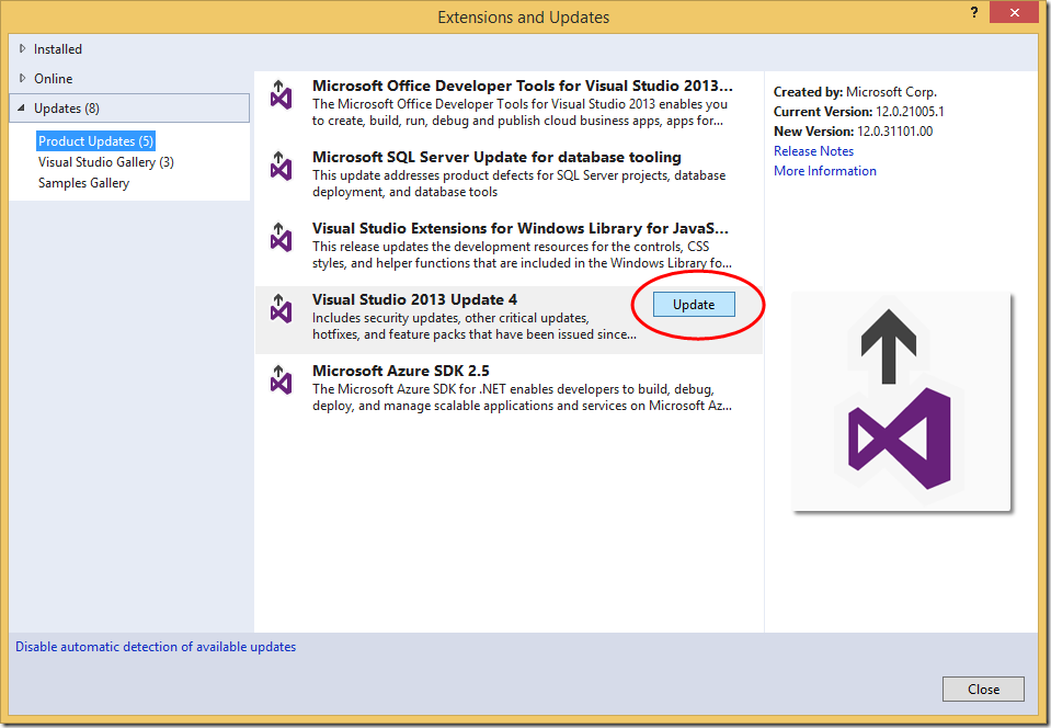 updates to MS Visual Studio 2013