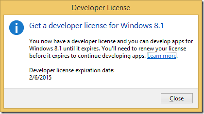 Visual Studio 2013 license