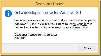 Visual Studio 2013 license