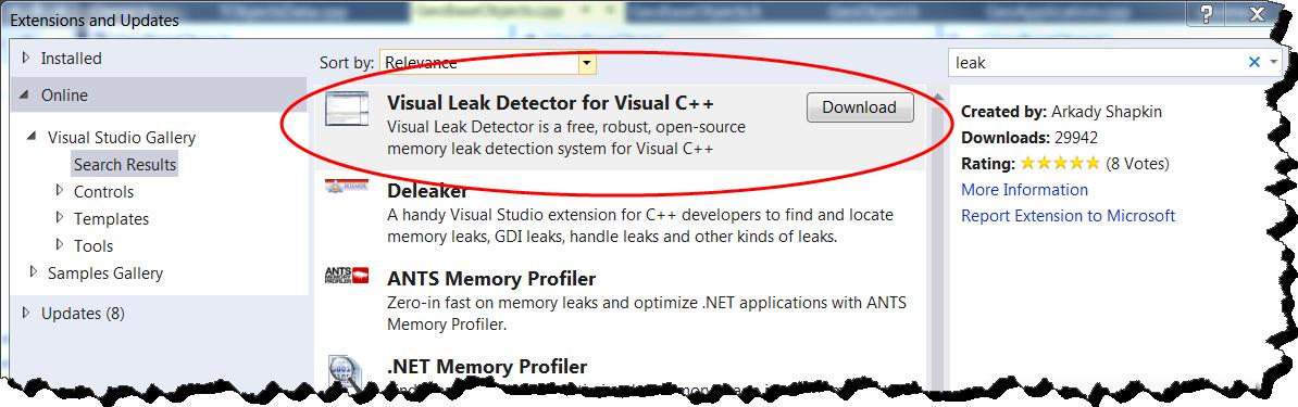 Using Visual Leak Detector