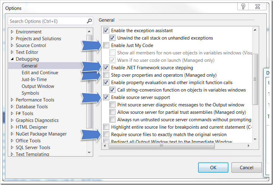 Debugging .NET Framework with Visual Studio 2013