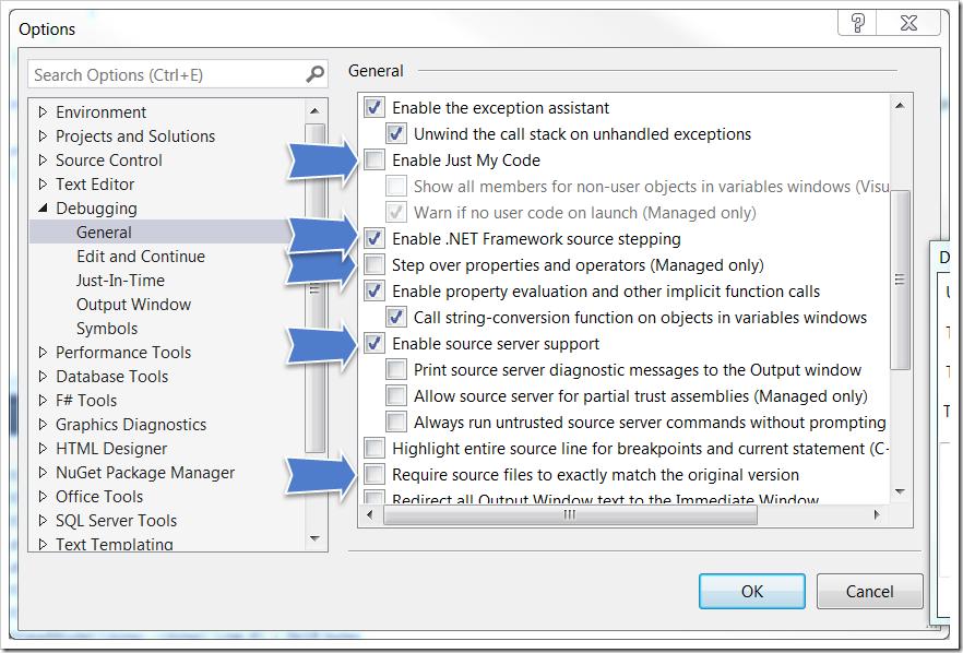 Debugging .NET Framework with Visual Studio 2013