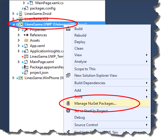 Manage NuGet packages…