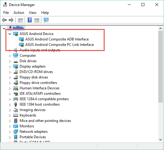 ADB interface listed in Windows Device Manager