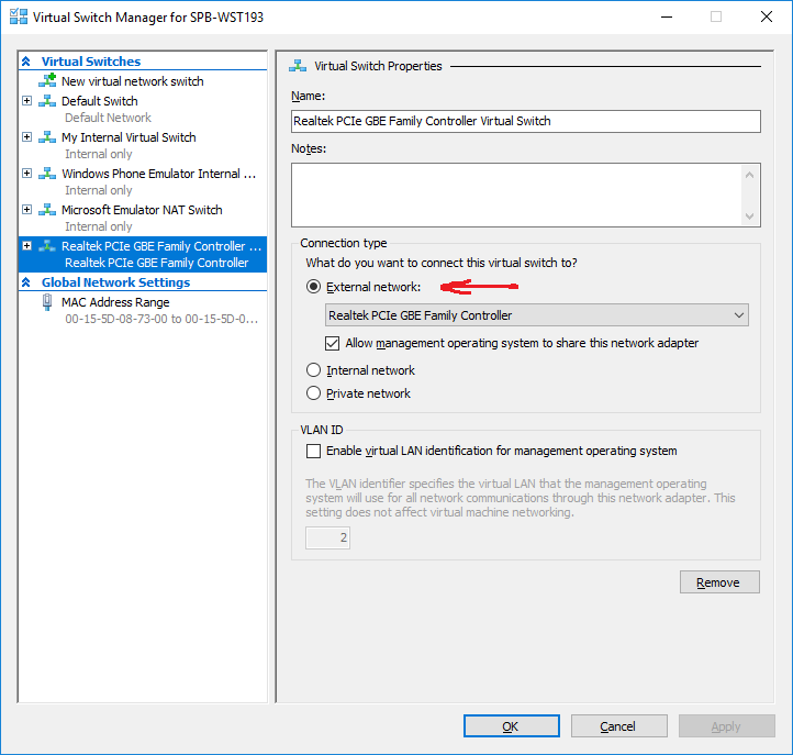 Setting up Hyper-V Virtual Machine With Internet Connection