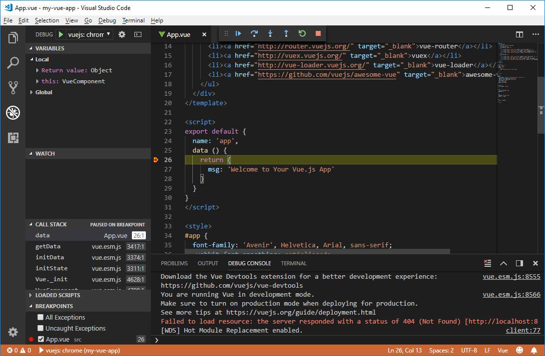 Setting up Vue js development tools on Windows 10